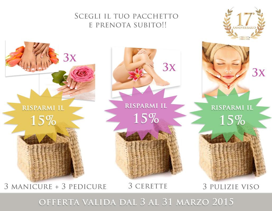 Celebrità Acconciature/Estetica Sconto 15% su 3 pacchetti di servizi estetica - 3 manicure + 3 pedicure - 3 cerette 3 pulizie viso